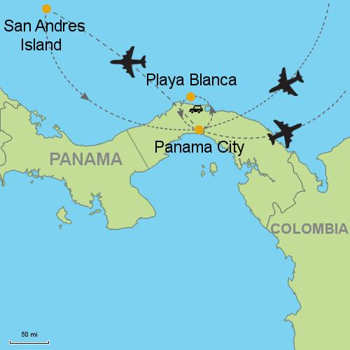 Panama City - Playa Blanca - San Andres Island- Customizable Itinerary