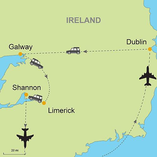 Map Of Shannon Ireland.Lucky Charms Dublin Galway Limerick Self Drive