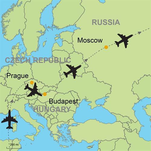 Prague - Budapest and Moscow by Air