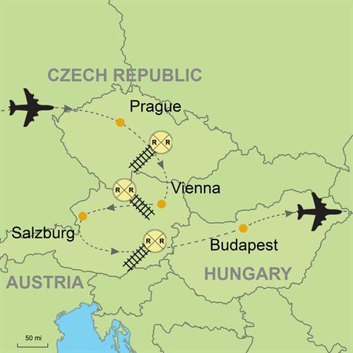 Carte Europe Vienne Prague Budapest.Prague Vienna Salzburg Budapest