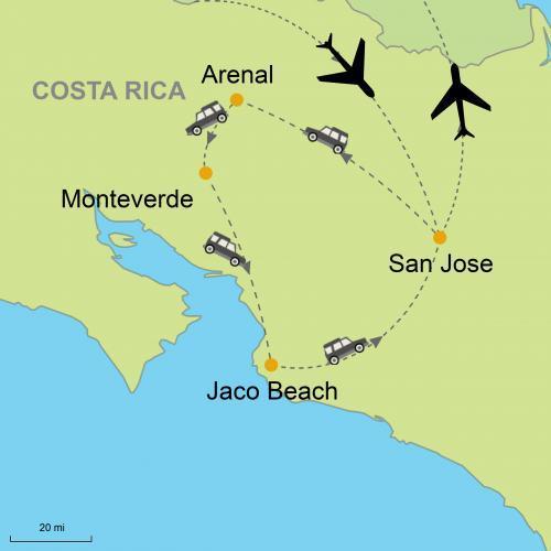 Map Arenal Monteverde Jaco