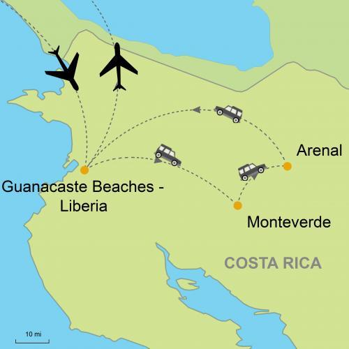 Guanacaste Beaches - Monteverde - Arenal Volcano