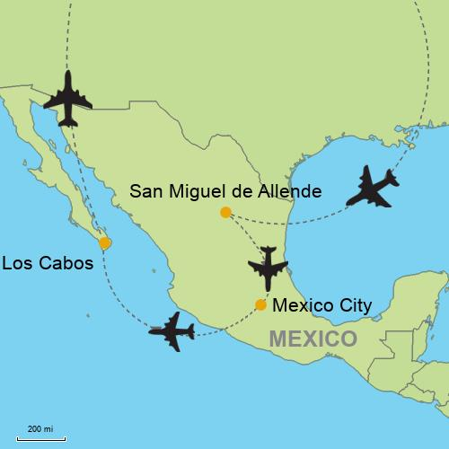 San Miguel de Allende - Mexico City - Los Cabos on tulancingo mexico map, coba mexico map, mazamitla mexico map, ixtapan de la sal mexico map, torreón mexico map, chilapa mexico map, guanajuato mexico map, tequesquitengo mexico map, san miguel cozumel mexico map, punta chivato mexico map, plaza garibaldi mexico map, colima volcano mexico map, anenecuilco mexico map, valle de bravo mexico map, ayotzinapa mexico map, allende coahuila mexico map, tenayuca mexico map, excellence resorts mexico map, lake cuitzeo mexico map, lagos de moreno mexico map,