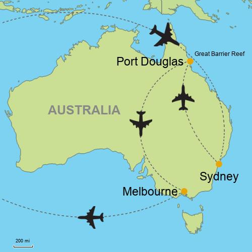 Map Of Australia Port Douglas.Sydney Great Barrier Reef Melbourne Customizable Itinerary From
