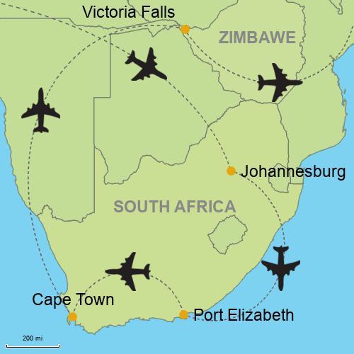 Map Of Africa Victoria Falls.Johannesburg Port Elizabeth Cape Town Victoria Falls