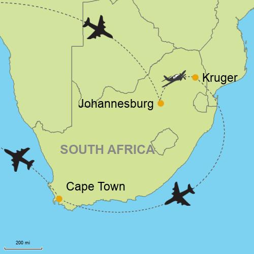 Johannesburg - Hazyview (Kruger Area) - Cape Town Customizable ...