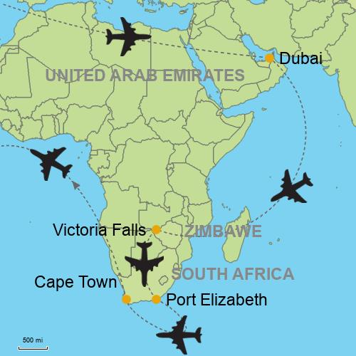 Map Of Africa Victoria Falls.Dubai Victoria Falls Cape Town Port Elizabeth Customizable