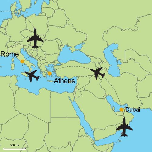 Dubai Athens Rome Customizable Itinerary From AsiaTripmasterscom - Rome map world