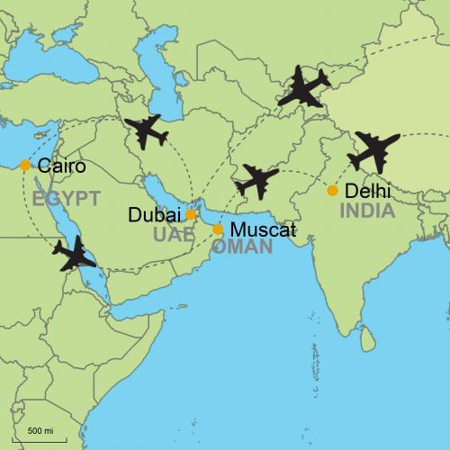 Map Of Asia Dubai.Dubai Cairo Muscat Delhi