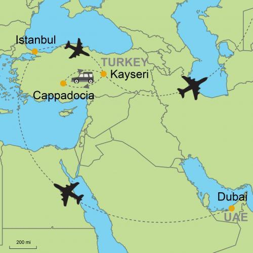 Dubai - Istanbul - Cappadocia on ardahan map, ankara map, dolmabahce palace map, pamukkale map, carpathian mountains map, anatolia map, turkey map, tatev monastery map, kayseri map, lycian sea map, macedonia map, bitlis map, nevsehir pazar map, cilicia map, underground city, mount nemrut, campania map, pontus map, troy map, goreme map, mount ararat, derinkuyu underground city, phthia map, ephesus map,