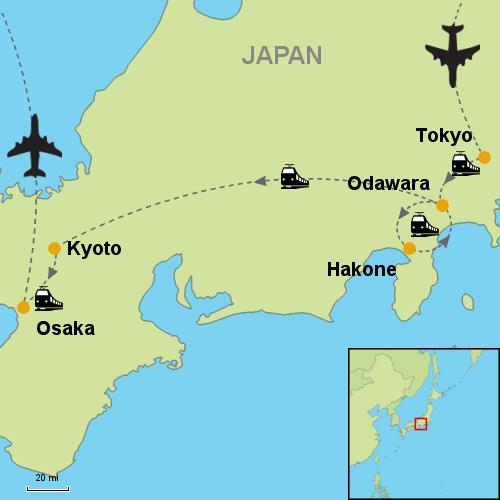 Tokyo Hakone Kyoto Osaka by Rail Customizable Itinerary from