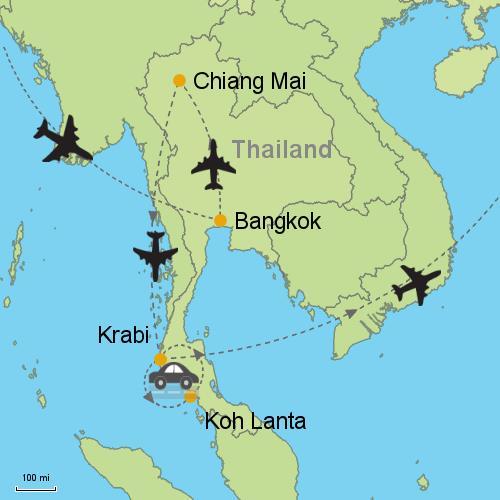 Bangkok Chiang Mai Koh Lanta Krabi Customizable Itinerary from