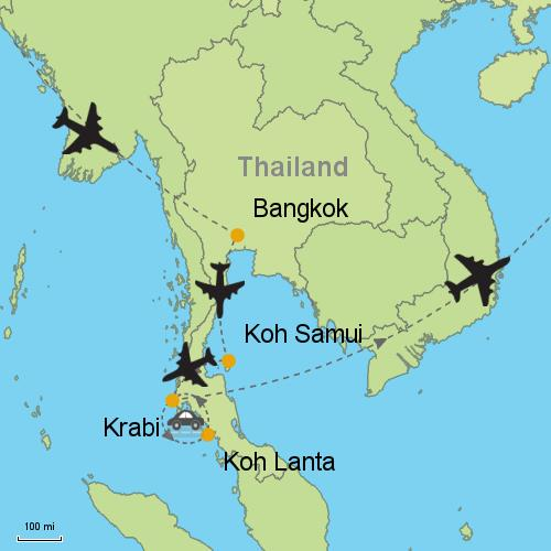 Bangkok - Koh Samui - Koh Lanta - Krabi on koh lanta thailand, koh samed thailand map, koh kood thailand map, koh phi phi thailand map, bophut thailand map, chiang mai thailand map, koh kut thailand map, cha-am thailand map, krabi thailand map, ancient china han empire map, kuala lumpur thailand map, koh nang yuan thailand map, nakhon phanom thailand map, suratthani thailand map, satun thailand map, pattaya thailand map, mae sai thailand map, pee pee island thailand map, koh kradan thailand map, cebu taoist temple map,
