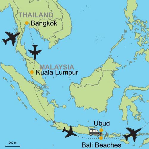 Bangkok Kuala Lumpur Bali Ubud And Beaches Customizable