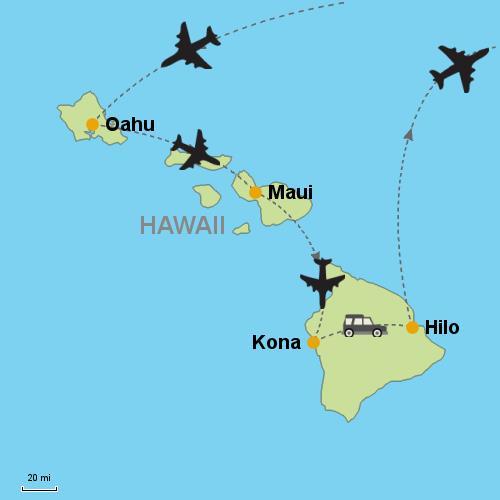 Wailea Hawaii Map.Oahu Maui Kona Hilo With Rental Car Customizable Itinerary