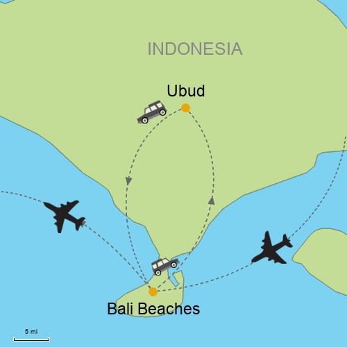 Bali ubud and beaches customizable itinerary from asiaipmasters map bali beaches and ubud gumiabroncs Gallery
