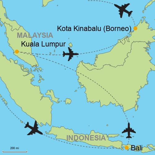 Bali ubud and beaches kuala lumpur borneo island map bali kuala lumpur borneo island gumiabroncs Gallery