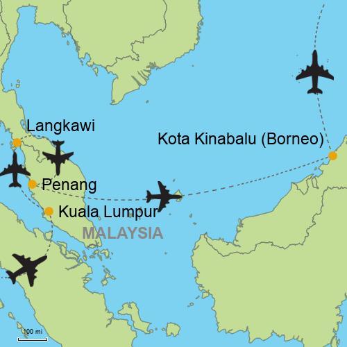 Map Of Asia Malaysia.Kuala Lumpur Langkawi Penang Borneo Island