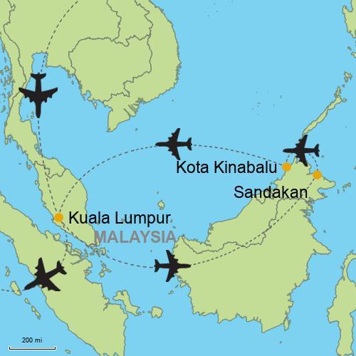 Kuala Lumpur Kota Kinabalu Sandakan Customizable Itinerary from