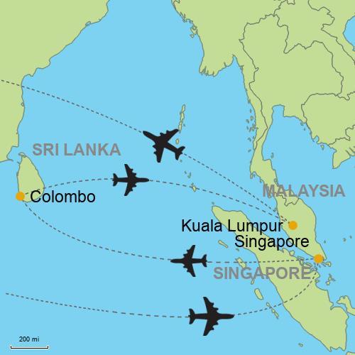 Singapore - Colombo - Kuala Lumpur on borneo on world map, bali on world map, indian ocean on world map, wellington on world map, manila on world map, tasman sea on world map, murray river on world map, auckland on world map, phnom penh on world map, mumbai on world map, mekong river on world map, melbourne on world map, port moresby on world map, beijing on world map, perth australia on world map, jakarta world map, tasmania on world map, andaman islands on world map, colombo on world map,