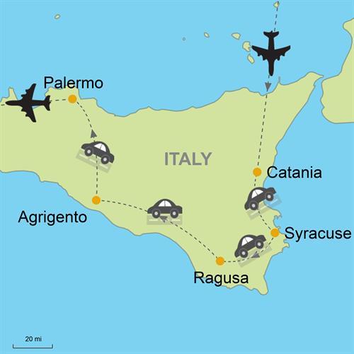 Catania Syracuse Ragusa Agrigento Palermo Self Drive