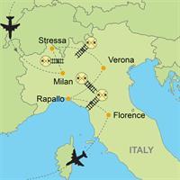 Milan - Stressa - Verona - Rapallo - Florence by Train