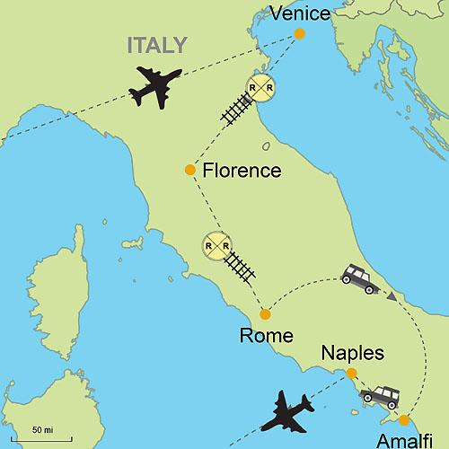 Map Of Italy Venice.Venice Florence Rome And Amalfi