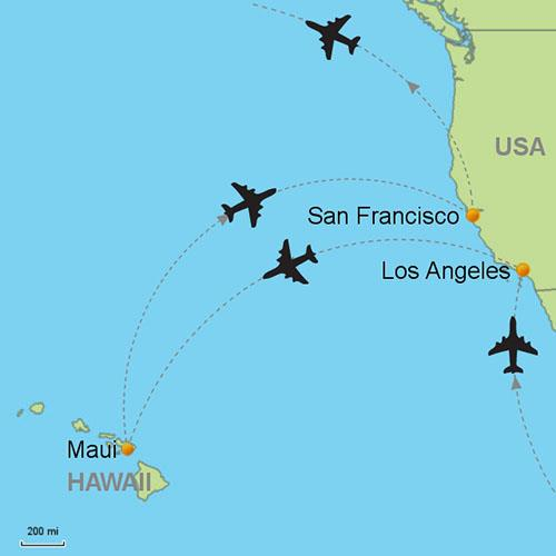 San Francisco To Los Angeles Map.Los Angeles Maui San Francisco Customizable Itinerary From Asia