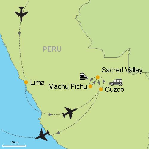 Airports In Peru Map.Lima Sacred Valley Machu Picchu Cuzco Customizable Itinerary