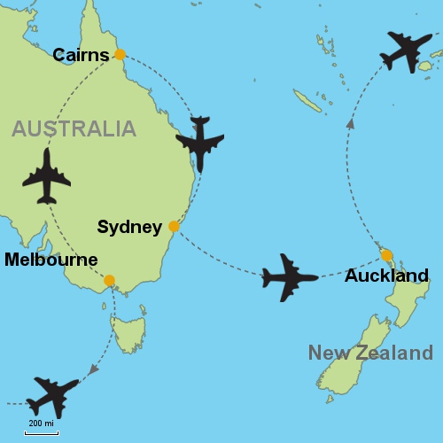 Melbourne Cairns Sydney Auckland Customizable Itinerary – Auckland Australia Map