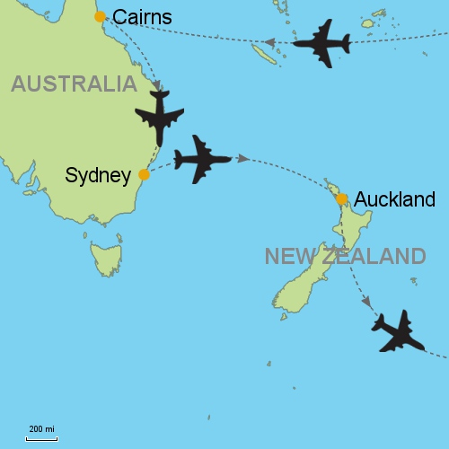 map cairns sydney auckland