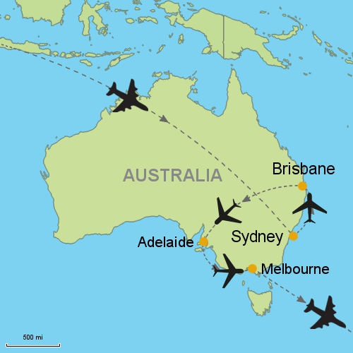 map sydney brisbane adelaide melbourne
