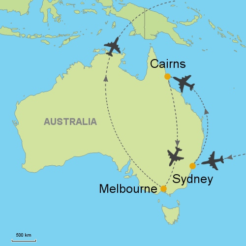 Sydney Cairns Melbourne Customizable Itinerary From Asia - Sydney map world
