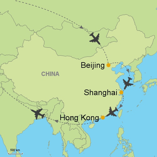 Beijing shanghai hong kong customizable itinerary from asia map beijing shanghai hong kong gumiabroncs Gallery