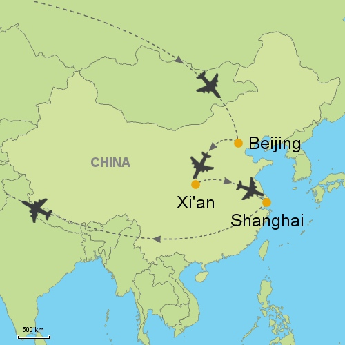 Beijing xi an shanghairelitin customizable itinerary from asia map beijing xian shanghai gumiabroncs Image collections