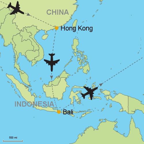 Hong kong bali denpasar customizable itinerary from asia map hongkong bali gumiabroncs Image collections