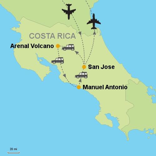 Manuel Antonio Costa Rica Map Arenal Volcano   Manuel Antonio  Customizable Itinerary