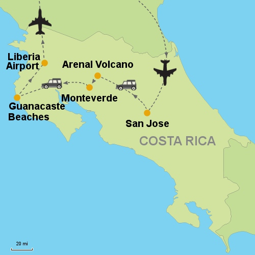Arenal Volcano Monteverde Guanacaste Beaches Customizable Itinerary From Tripmasters Com