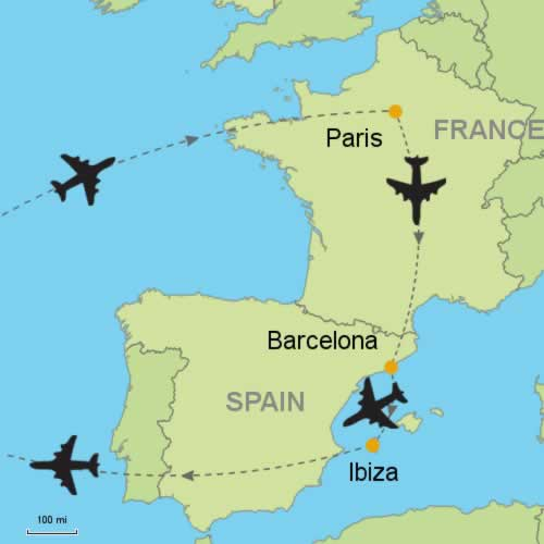 Paris Barcelona and Ibiza by Air Customizable Itinerary from