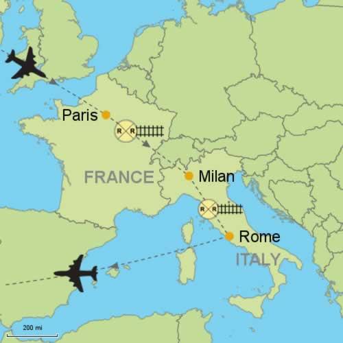 Milan To Rome >> Paris Milan Rome