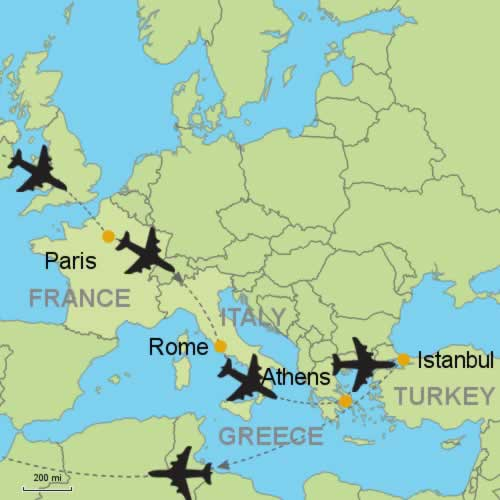 Paris Rome Athens Istanbul Customizable Itinerary From