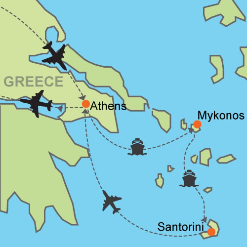 Athens mykonos santorini customizable itinerary from tripmasters athjmkjtr gumiabroncs Image collections