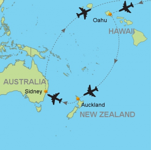 map hawaii auckland sydney