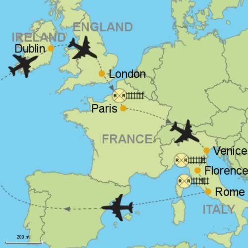 Dublin - London - Paris - Venice - Florence - Rome Customizable ...