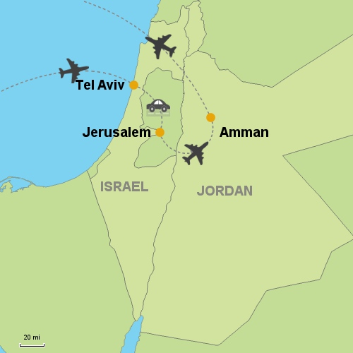 Tel aviv jerusalem amman customizable itinerary from asia map tel aviv jerusalem amman gumiabroncs Image collections