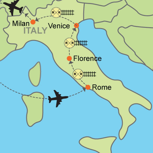 Map Of Italy Showing Pisa.Rome Florence Venice Milan