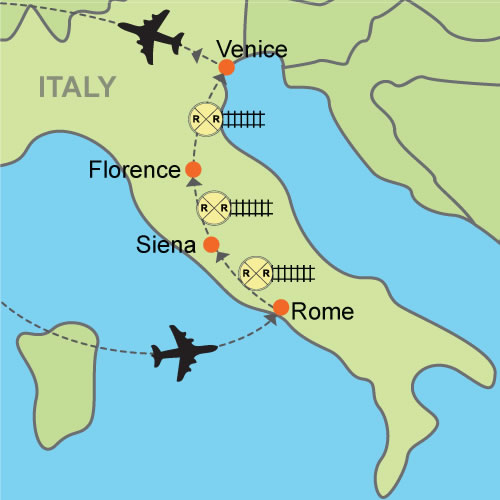 Map Of Italy Showing Venice.Rome Siena Florence Venice