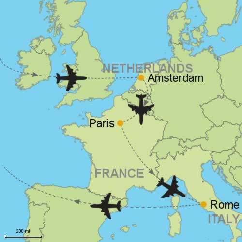 Amsterdam - Paris - Rome by Air Customizable Itinerary from ...