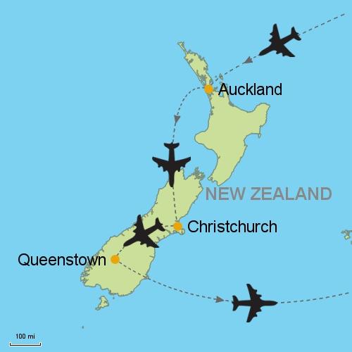 New Zealand Christchurch Map.Auckland Christchurch Queenstown