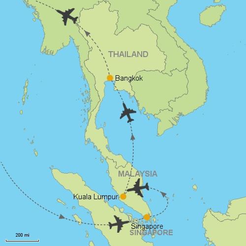 Singapore kuala lumpur bangkok customizable itinerary from asia map singapore kuala lumpur bangkok gumiabroncs Image collections